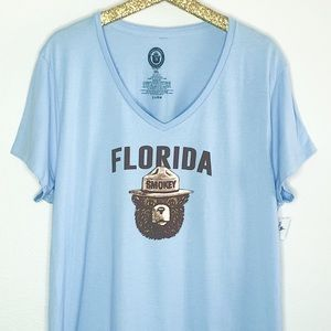 Tops - Smokey The Bear Florida Graphic Blue T-Shirt